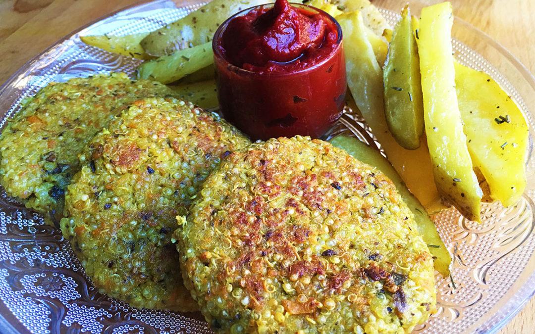 Hamburguesas de quinoa y kétchup casero