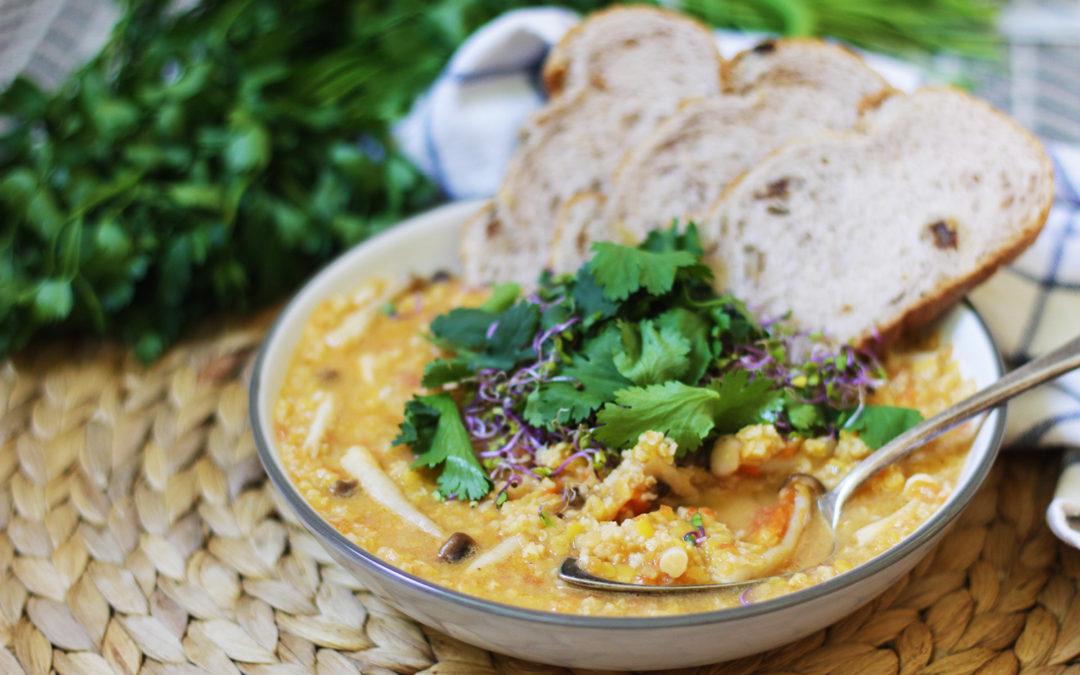 Curry picante de lentejas rojas y mijo